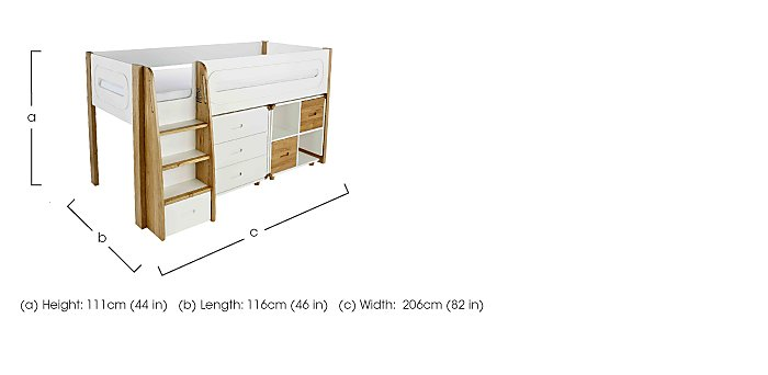 Corvo Midsleeper with 3 Drawer Chest and 2 Storage Cubes in  on FV