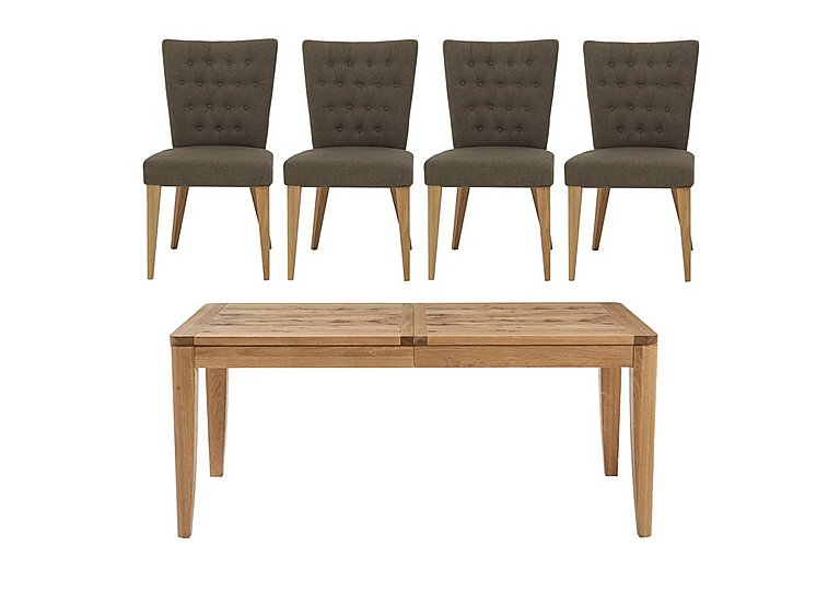 Dorset Large Extending Dining Table and 4 Fabric Dining Chairs