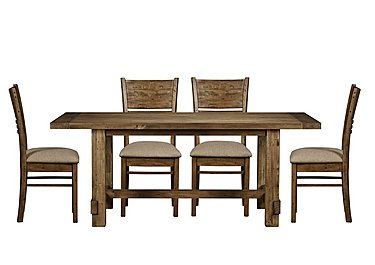 Eco Large Dining Table with 4 Fabric Chairs