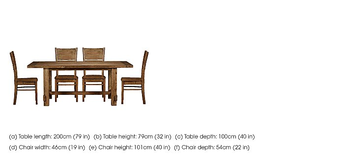 Eco Large Dining Table with 4 Wooden Chairs