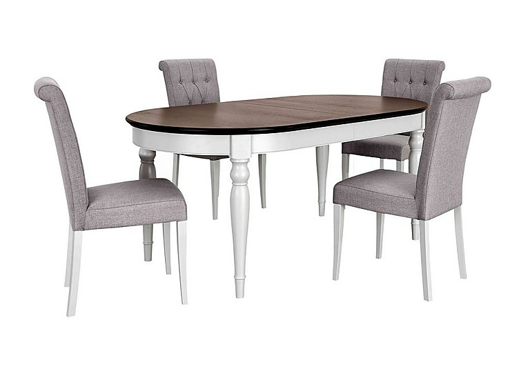 Emily Extending Table and 4 Upholstered Dining Chairs