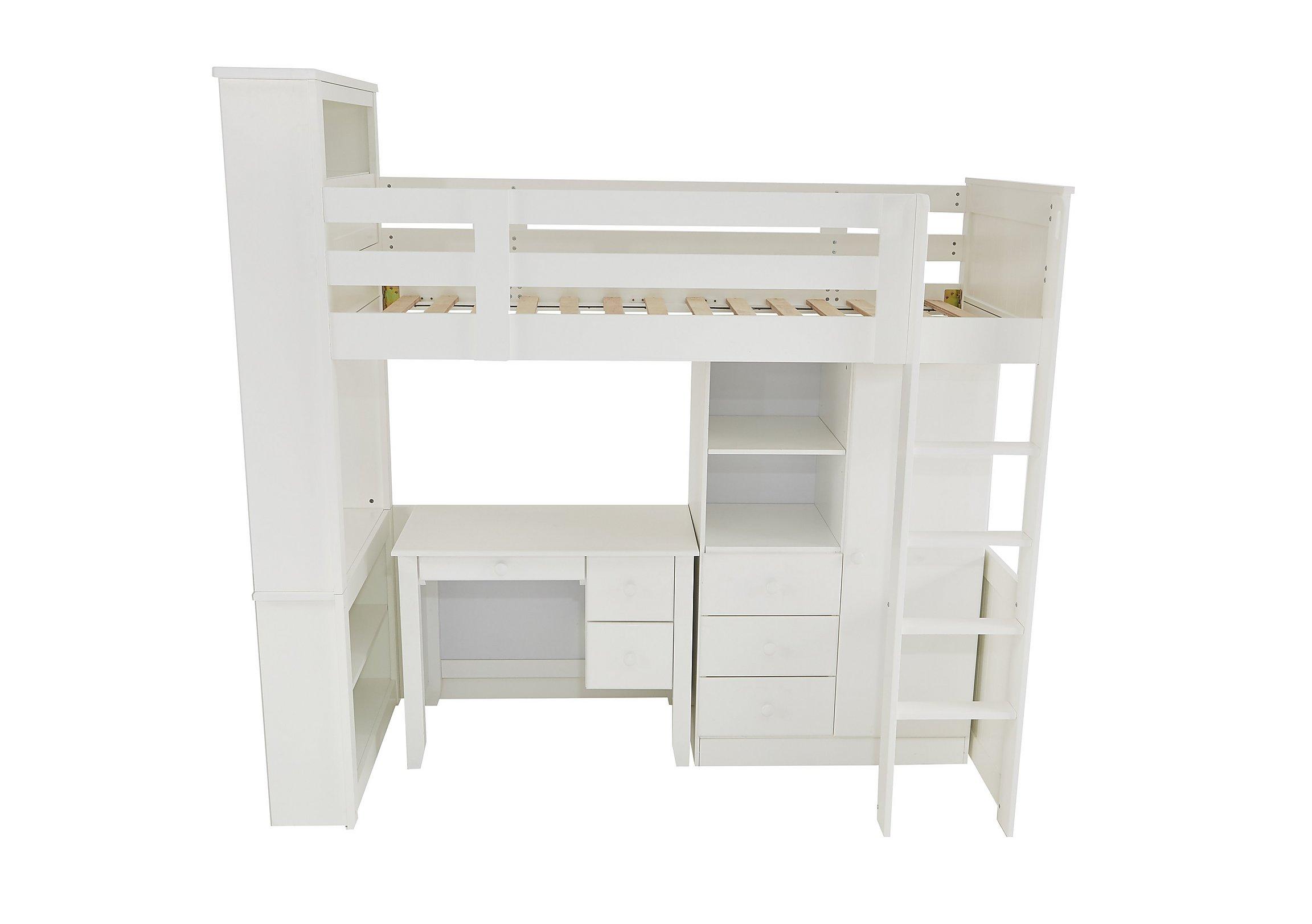 Bed with a desk wardrobe versatile children go bed under table - Save 540