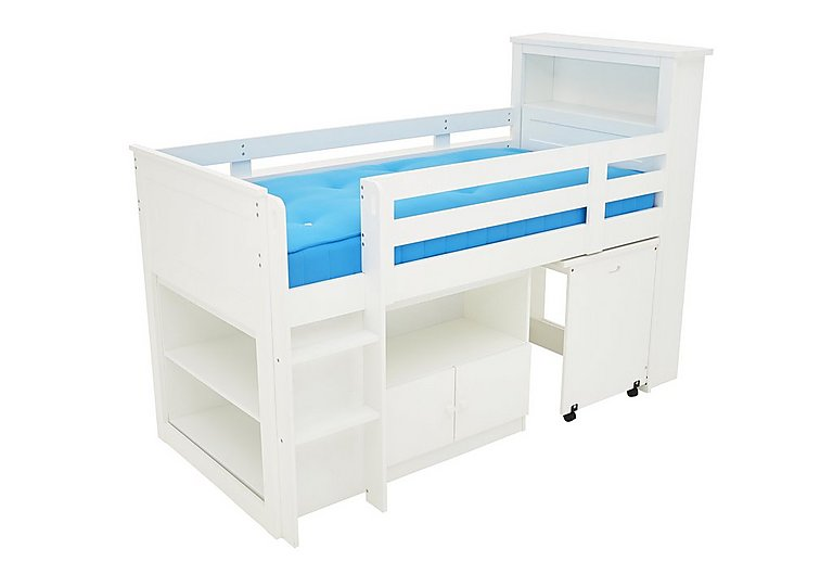 Explorer Mid Sleeper Bed with Desk, Cupboard and Bookcase in  on FV