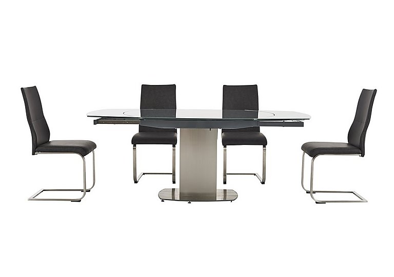 Flow Swivel Glass Extending Dining Table with 4 Chairs in  on FV