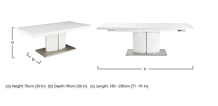 Grande white high gloss extending dining table furniture for Table basse grande dimension