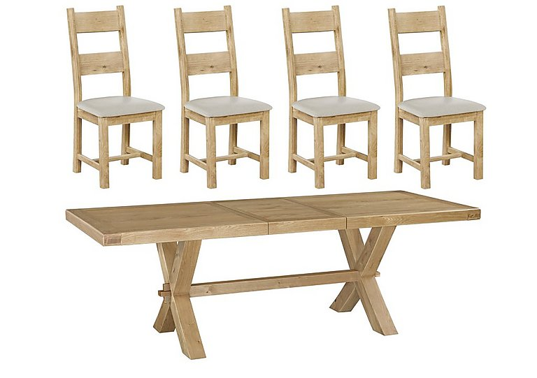Keating Crossed-Leg Extending Dining Table and 4 Slatted Chairs