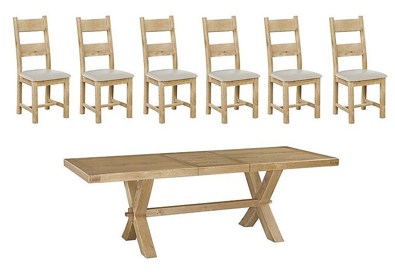 Keating Crossed-Leg Extending Dining Table and 6 Slatted Chairs