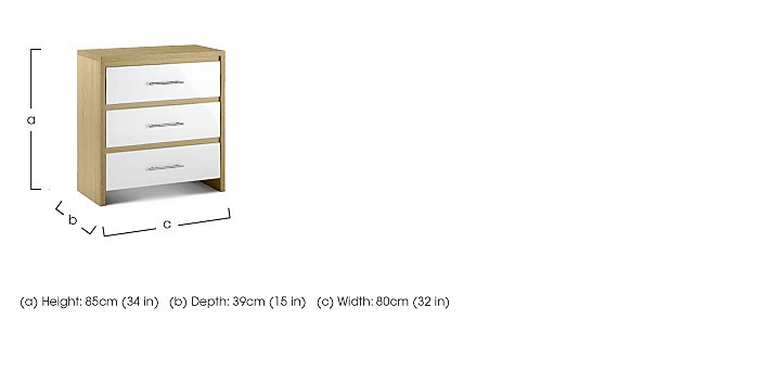 Lorelle 3 Drawer Chest in  on FV