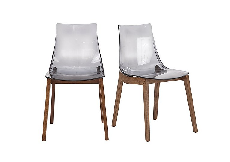 Mikado Pair of Smoke Grey Acrylic Dining Chairs in  on FV