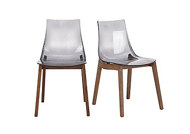 Mikado Pair of Smoke Grey Acrylic Dining Chairs in  on Furniture Village