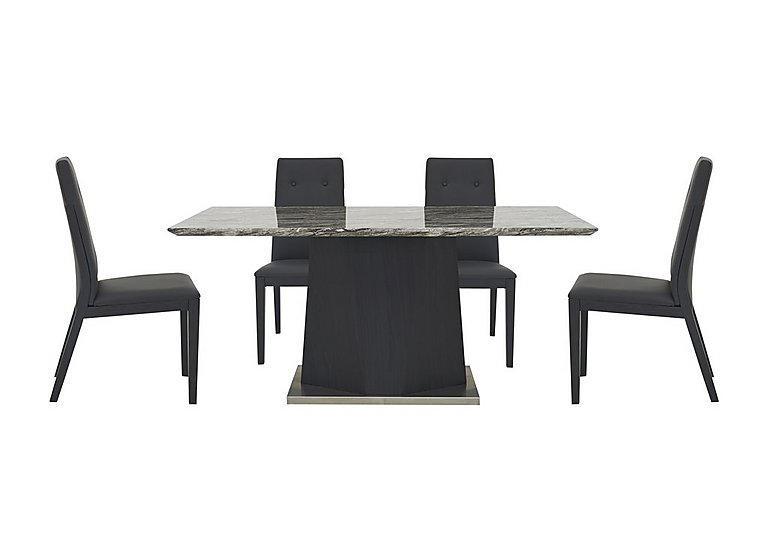 Monaco Dining Table and 4 Faux Leather Dining Chairs Furniture