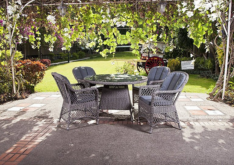 Furniture Village Garden Furniture monte carlo 4 seater round dining set - alexander rose - furniture