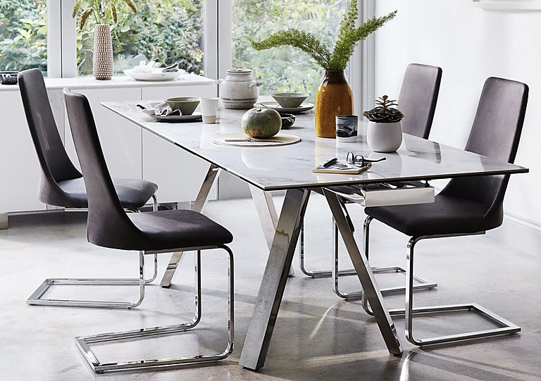 Furniture Village Dining Chairs nevada pair of grey faux leather dining chairs - furniture village