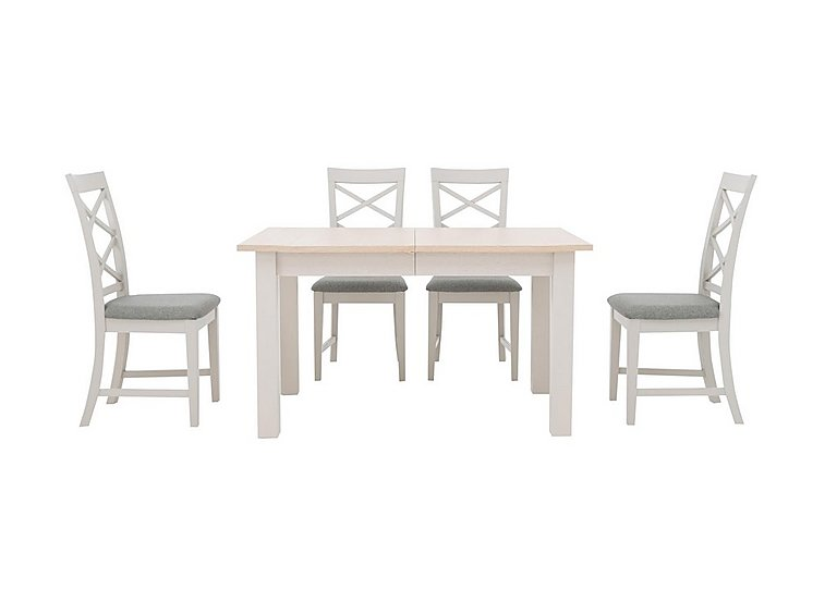 Portobello Extending Dining Table and 4 Cross Back Chairs