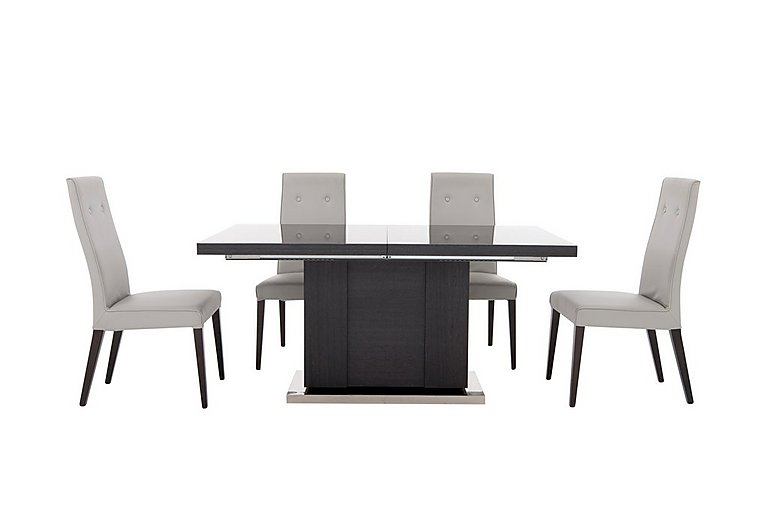 St Moritz Extending Table and 4 Faux Leather Upholstered Chairs