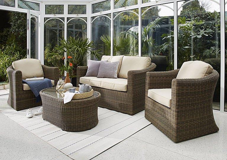 Savannah 4 Piece Rattan Lounge Set with 2 Seater Sofa in  on Furniture Village