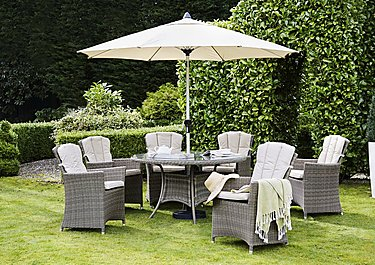Savannah 6 Seater Round Rattan Dining Set with Parasol in  on FV