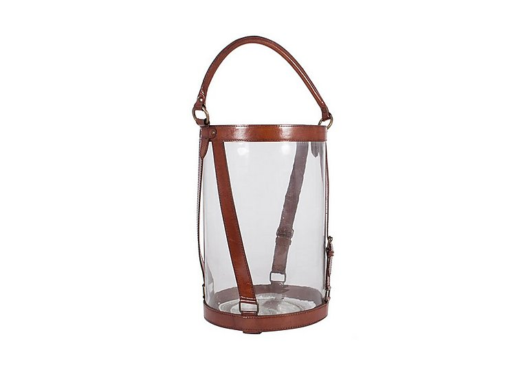 Tan Large Leather Lantern in  on FV