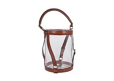 Tan Medium Leather Lantern in  on Furniture Village