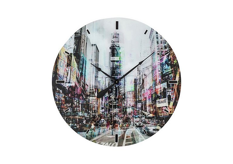 Glass Times Square Wall Clock in  on Furniture Village