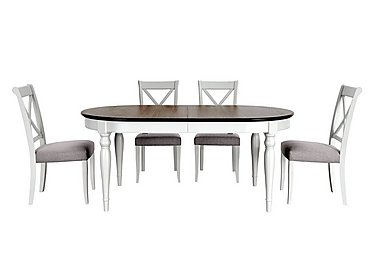 Emily Extending Table and 4 Cross Back Dining Chairs - Only One Set Left! in  on Furniture Village