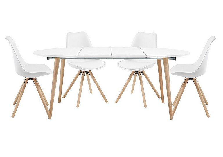 Espen Extending Oval Table 120/200cm and 4 Dining Chairs - Only One Set Left!