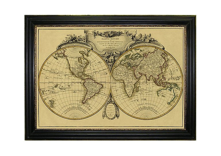 Framed Map of the World in  on FV