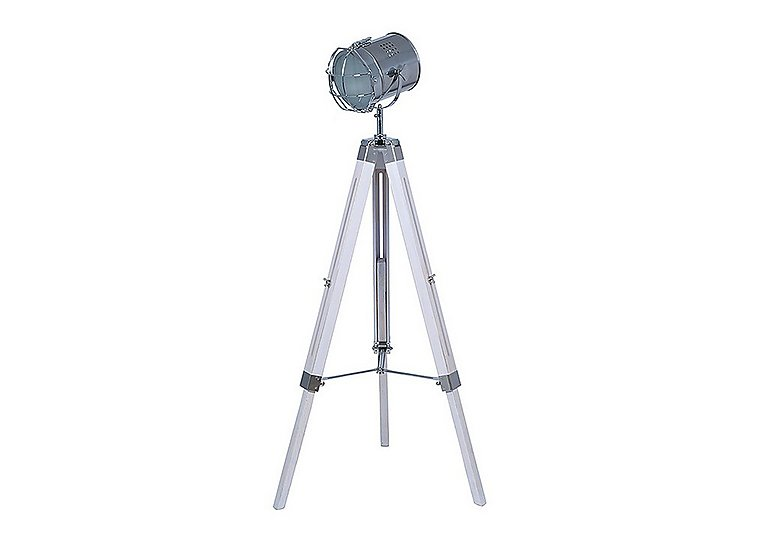 White Wash Wood Tripod Floor Lamp in  on FV
