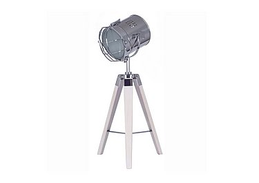 White Wash Wood Tripod Table Lamp in  on FV
