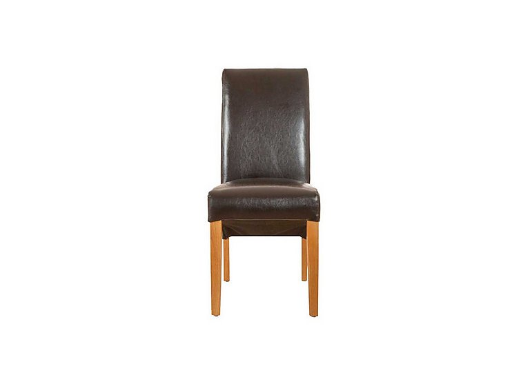 Arlington Upholstered Dining Chair in Brown Pu -Roll Back Chair Only on FV