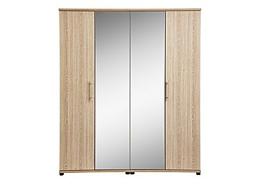 Amari 4 Door Centre Mirror Wardrobe in Kkv - King Oak on FV