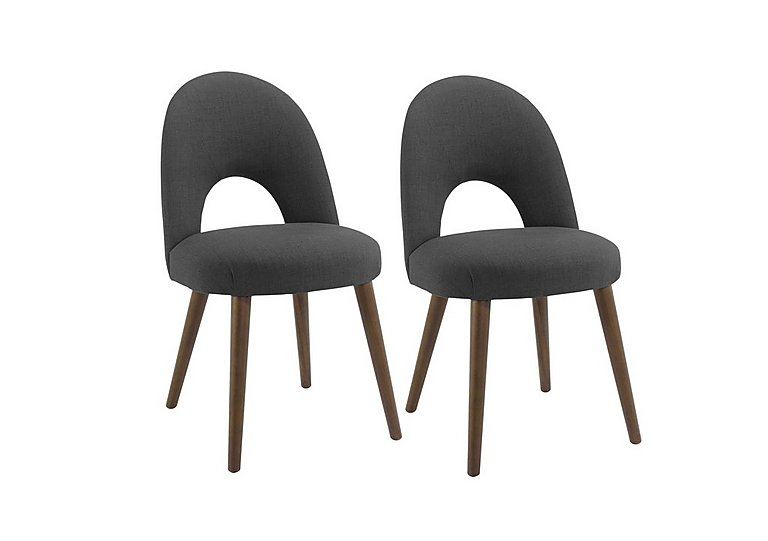 Nexus Pair of Upholstered Dining Chairs in Charcoal on FV