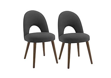 Nexus Pair of Upholstered Dining Chairs in Charcoal on Furniture Village