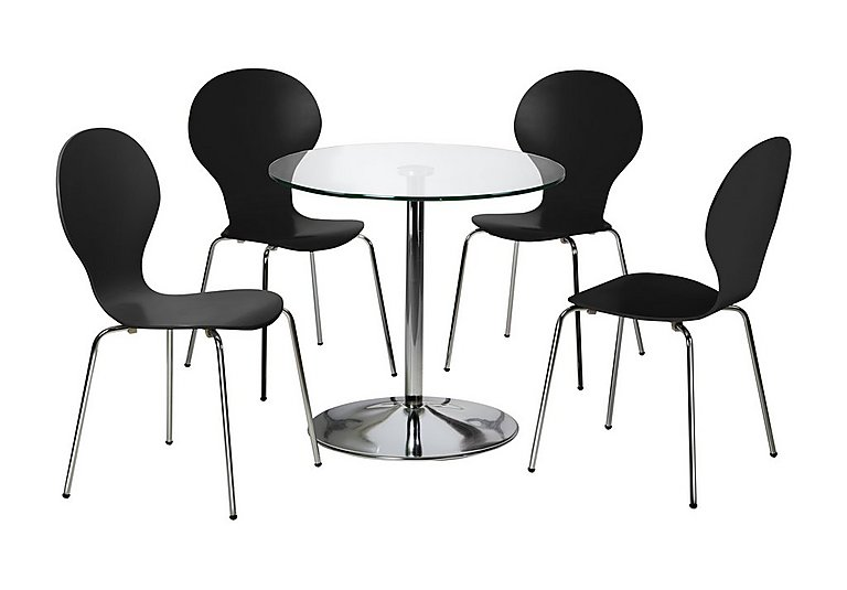 Spectra Table and 4 Dining Chairs in Black on FV