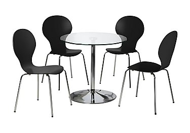 Spectra Table and 4 Dining Chairs in Black on Furniture Village