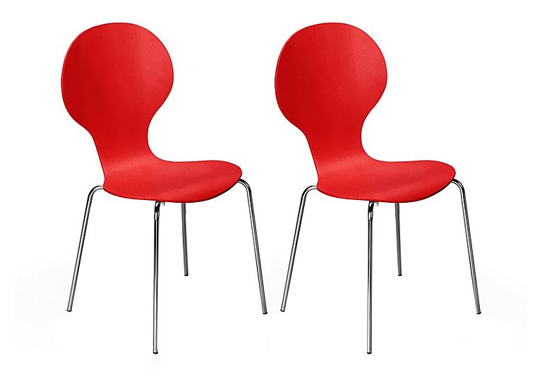 Spectra Pair of Dining Chairs in Red on FV