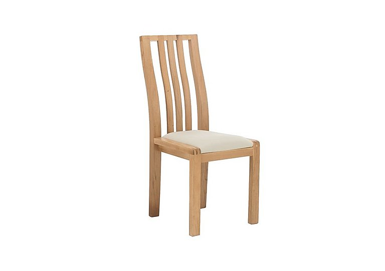Bosco Slatted Back Dining Chair in Cream Fabric on FV