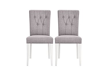 Emily Pair of Upholstered Rollback Chairs in Soft Grey And Walnut on FV
