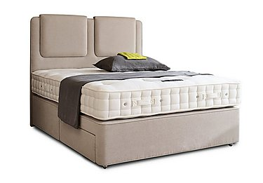 Revive Deluxe Cotton Pocket Sprung Divan Set in 564 Imperio 903 Stone on FV
