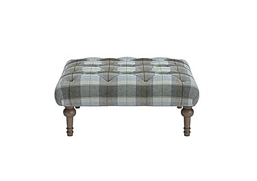 New England Small Addison Fabric Footstool in Blanket Plaid Sky Dark Feet on FV