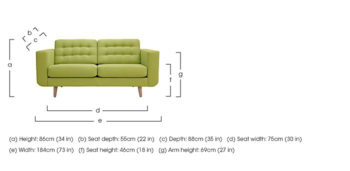 Alva Large 2 Seater Fabric Sofa in  on FV