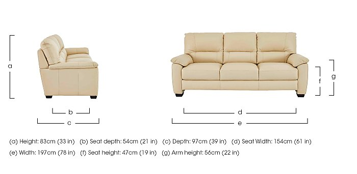 Apollo 3 Seater Leather Sofa in  on Furniture Village