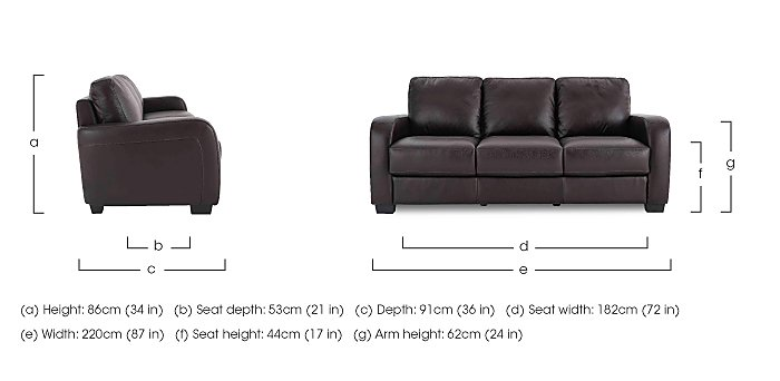 Astor 3 Seater Leather Sofa in  on Furniture Village