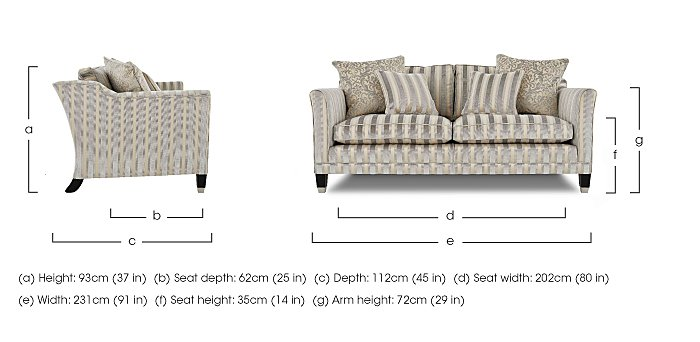 Belgrave 3 Seater Fabric Sofa in  on FV