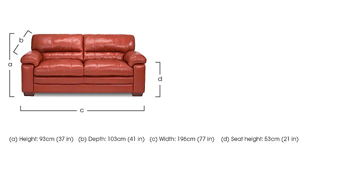 Carolina 2.5 Seater Leather Sofa  in {$variationvalue}  on FV