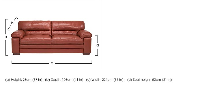 Carolina 3 Seater Leather Sofa in  on FV