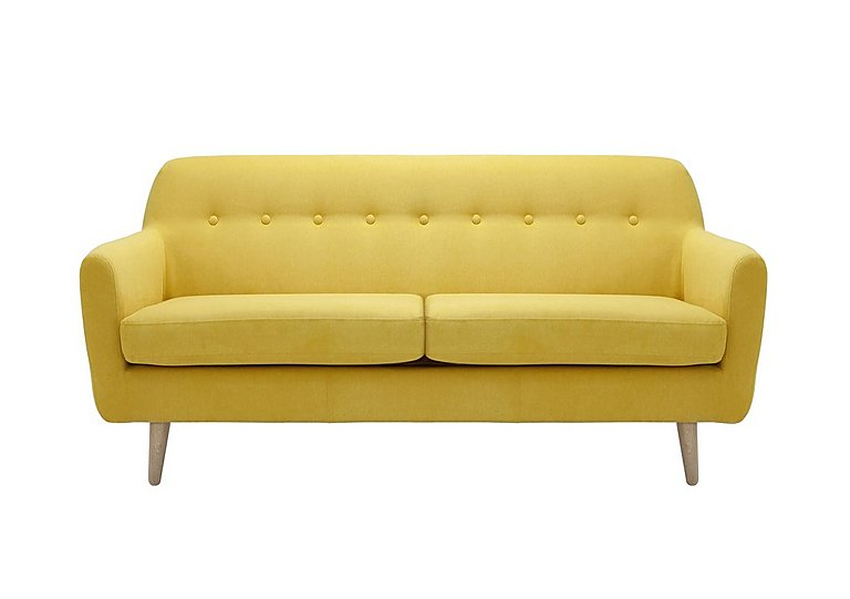 Casper 2 Seater Fabric Sofa in Imperio-401 Mustard-Nat Ft on FV