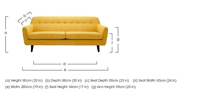 Casper 3 Seater Fabric Sofa in  on FV