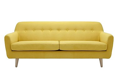 Casper 3 Seater Fabric Sofa in Imperio-401 Mustard-Nat Ft on FV