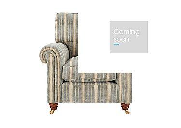 Chelsea Village Fabric Armchair in Tracery Stripe Limestone Blue on FV